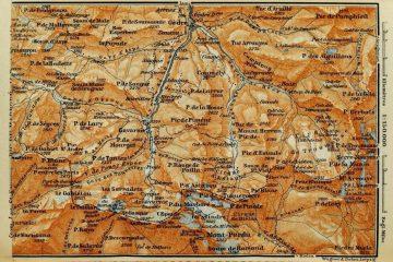 Pirineos mapa antiguo Monte Perdido