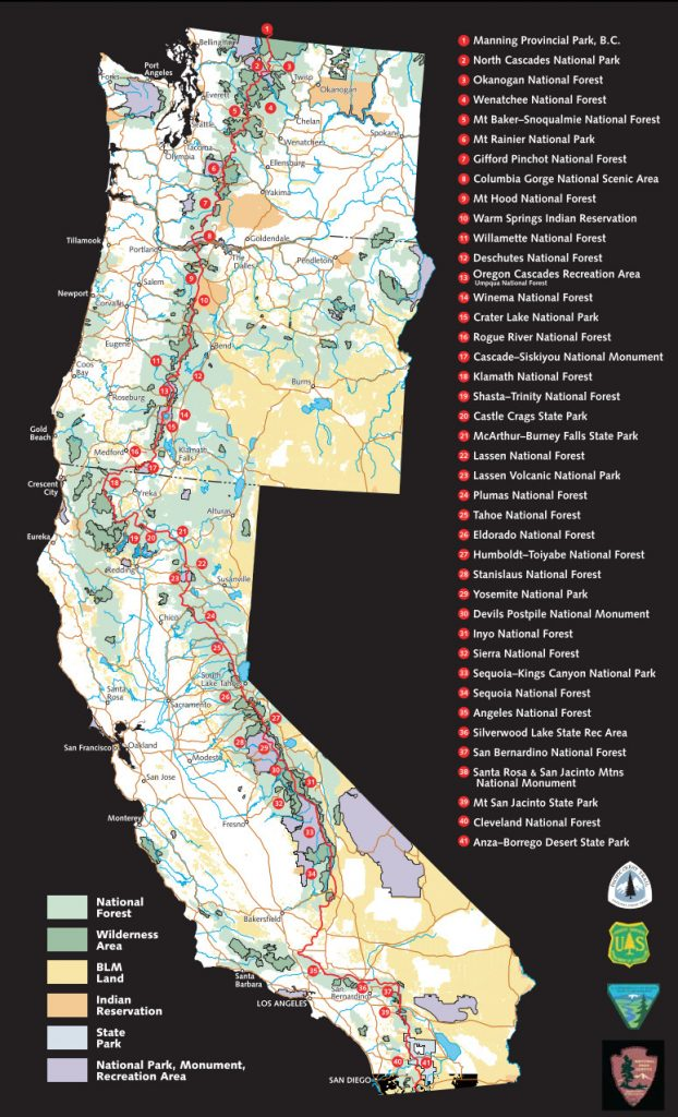 Mapa del Pacific Crest Trail / Foto: USFS and EncMstr [Public domain]
