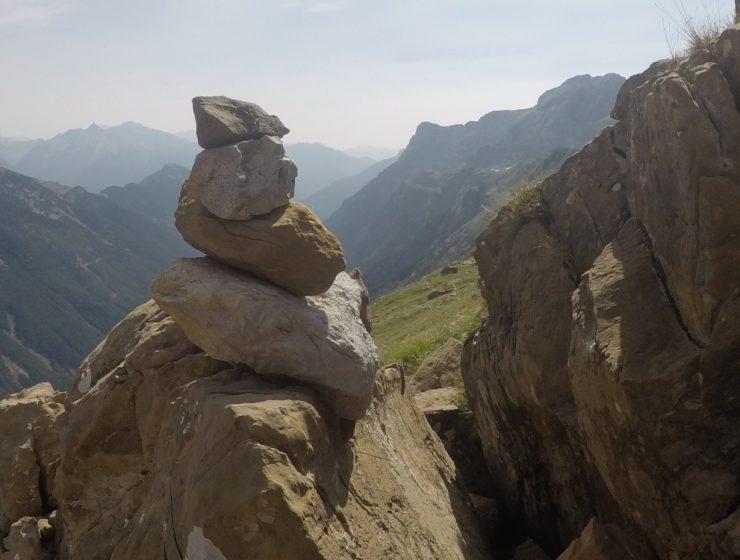 Hito en el descenso de Añisclo a Pineta / Foto: Enric Cáceres i Jaume Canet (100Fites)
