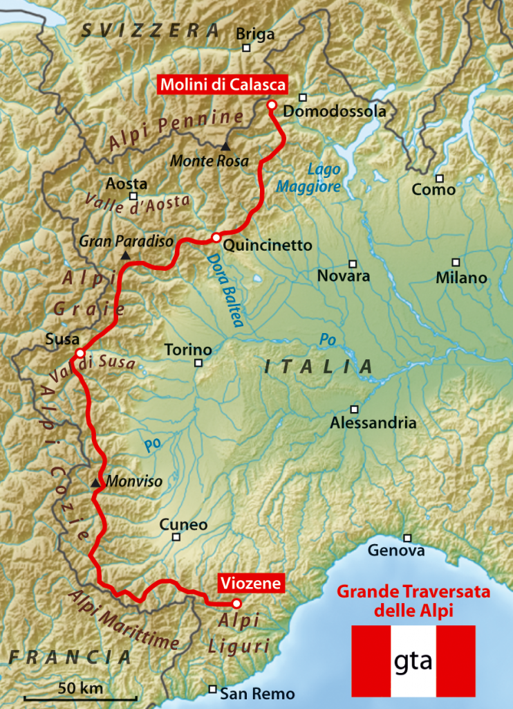 Mapa Grande Traversata delle Alpi / Foto: NordNordWest (CC-BY-SA-3.0)