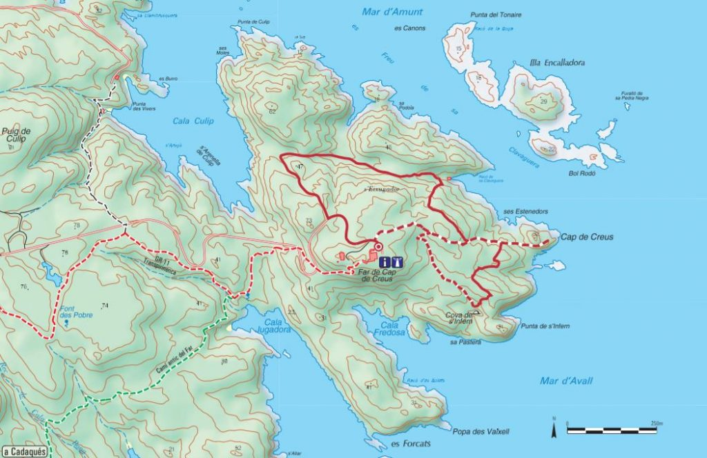 Rutas de la Punta de Cap de Creus. / Mapa que aparece en el folleto de itinerarios del Parc Natural de Cap de Creus